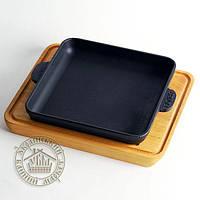Сковорода чугунная на деревянной подставке (18*18 см)