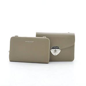 Женский клатч + кошелек D. Jones KL 5504B-2 khaki (хаки)