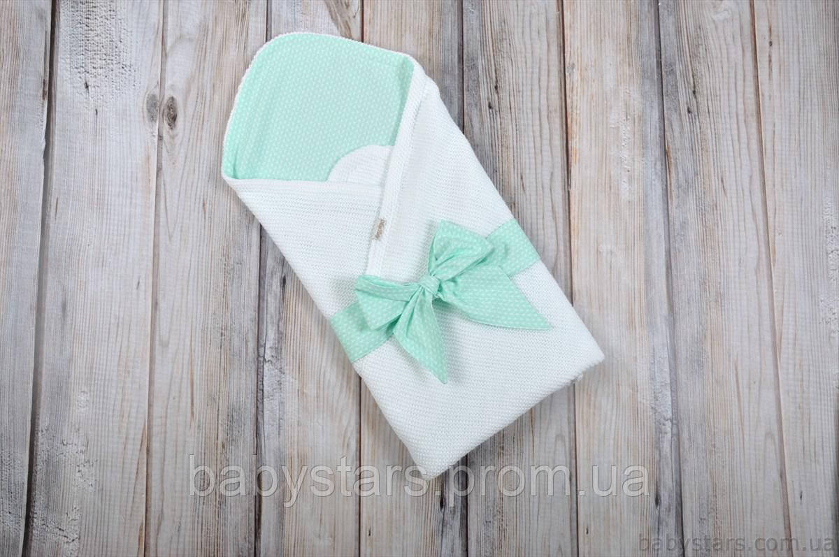 """Летнее одеяло-конверт на выписку """"Косичка"""", мятно-белого цвета"""