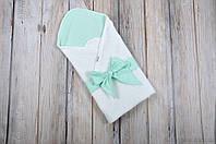 "Летнее одеяло-конверт на выписку ""Косичка"", мятно-белого цвета, фото 1"