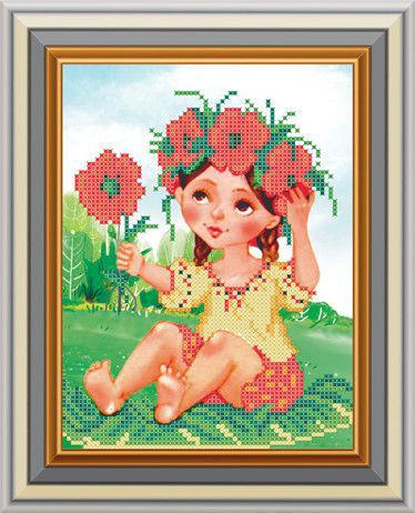 Схема для вышивки бисером Девушка в венке (15 х 19 см) СД-148 Княгиня Ольга