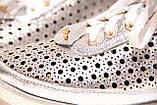 Жіночі срібло шкіряні кросівки в сітку, фото 7
