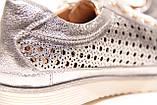 Жіночі срібло шкіряні кросівки в сітку, фото 6