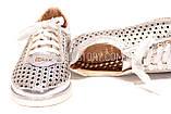 Жіночі срібло шкіряні кросівки в сітку, фото 5