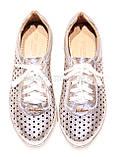 Жіночі срібло шкіряні кросівки в сітку, фото 4