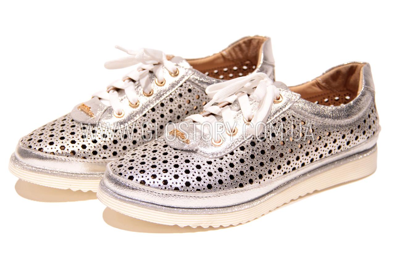 Жіночі срібло шкіряні кросівки в сітку