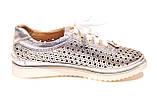 Жіночі срібло шкіряні кросівки в сітку, фото 3
