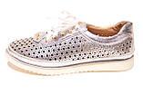 Жіночі срібло шкіряні кросівки в сітку, фото 2