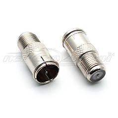 Перехідник антенний штекер F (швидкий з кільцем) - гніздо F (метал)