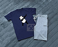 Летний спортивный костюм Supreme, поло+шорты (синий+серый)