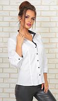 Строгая белая женская блузка с рукавом три четверти воротник стойка хлопок