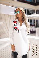 Удлиненная женская рубашка с декорированным цветком воротник стойка коттон