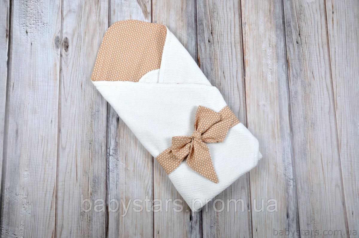 "Летний конверт ""Косичка"", коричнево-белый"