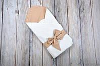 "Летний конверт ""Косичка"", коричнево-белый, фото 1"