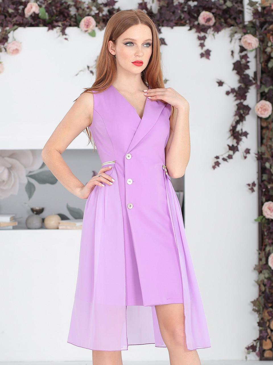 Платье-тренч в сиреневом цвете