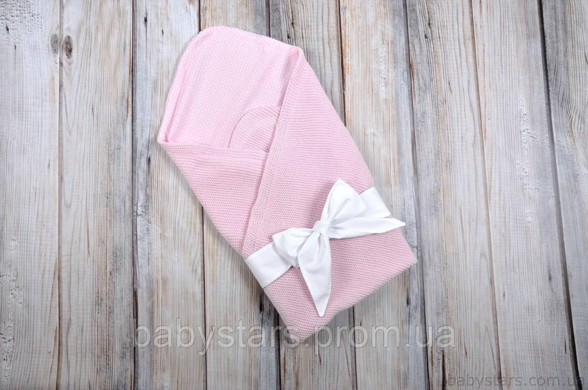 """Летний конверт на выписку """"Косичка"""", розовый"""