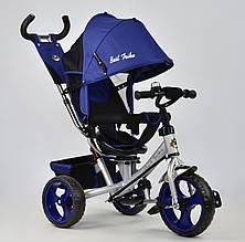 Велосипед 3х колесный Best Trike 5700. Поворотное сиденье, Ткань лен. Синий