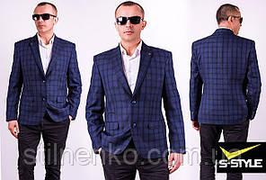 Пиджак мужской в клетку синий West-Fashion