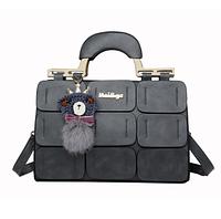 Красивая сумка женская серая с брелком Мишка
