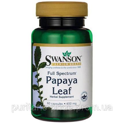 Листья папайи, Swanson Full Spectrum Papaya Leaf 400 mg 60 Caps, фото 2