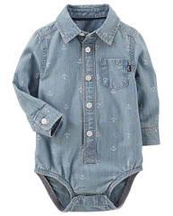 Боди-рубашка для мальчика OshKosh джинсовая 12-18 мес/76-81 см
