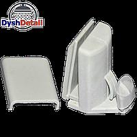 Нижний направляющий крючок  для стеклянных дверей душевой кабины пластиковый серый К-1