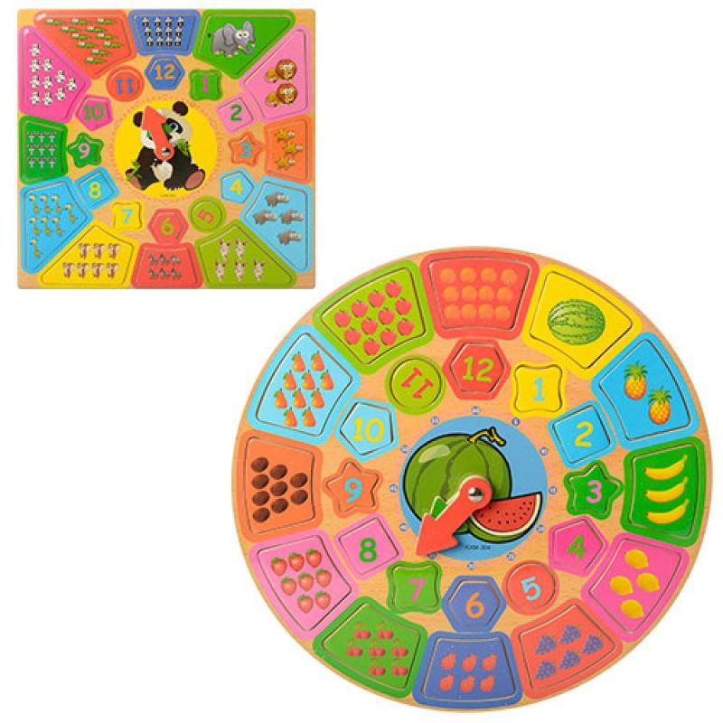 Часы-сортер с деревянными фигурками животных, фруктов, ягод, в кульке