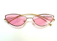Оригинальные узкие очки КОШАЧИЙ ГЛАЗ с  розовыми стеклами