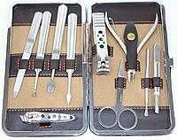 Маникюрный набор из 10 предметов, коричневый с ричунком, фото 1