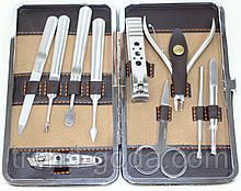 Маникюрный набор из 10 предметов, коричневый с ричунком