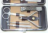 Маникюрный набор из 10 предметов, коричневый с ричунком, фото 3