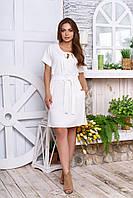 """Элегантное легкое платье трапеция с коротким рукавом и поясом """"А 48"""" молочное"""