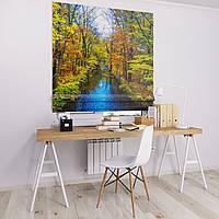 Римская штора Джуси велюр с фотопечатью Осенняя речка  1500*1700 делаем любой размер