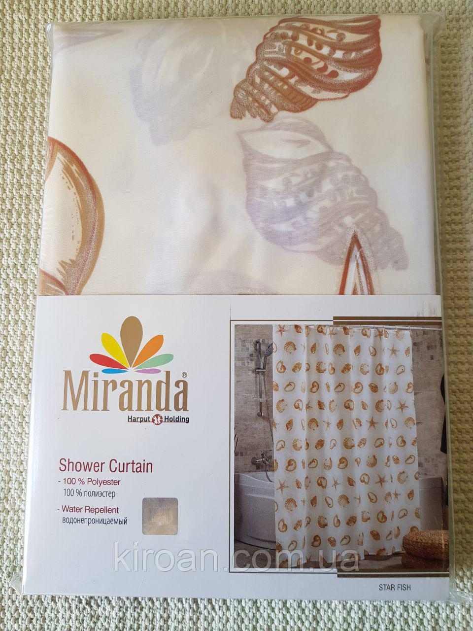 Шторка для ванной Миранда Бежевая М1413