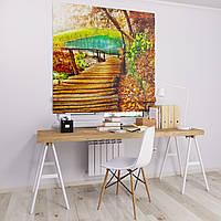 Римская штора Джуси велюр с фотопечатью Деревянная тропа  1500*1700 делаем любой размер