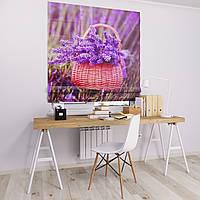 Римская штора Джуси велюр с фотопечатью Корзина с цветами  1500*1700 делаем любой размер