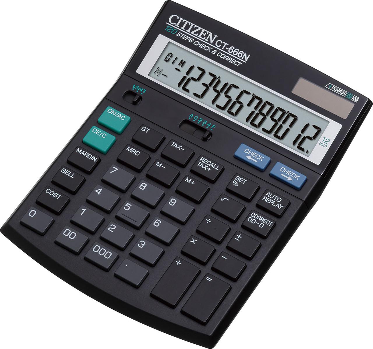 Калькулятор Citizen CT-666N бухгалтерский с коррекцией, 12р.