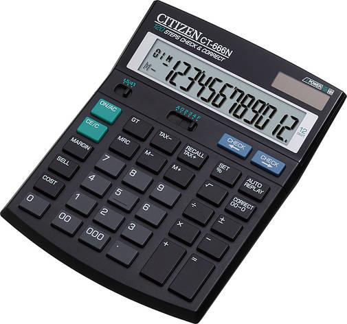 Калькулятор Citizen CT-666N бухгалтерский с коррекцией, 12р., фото 2