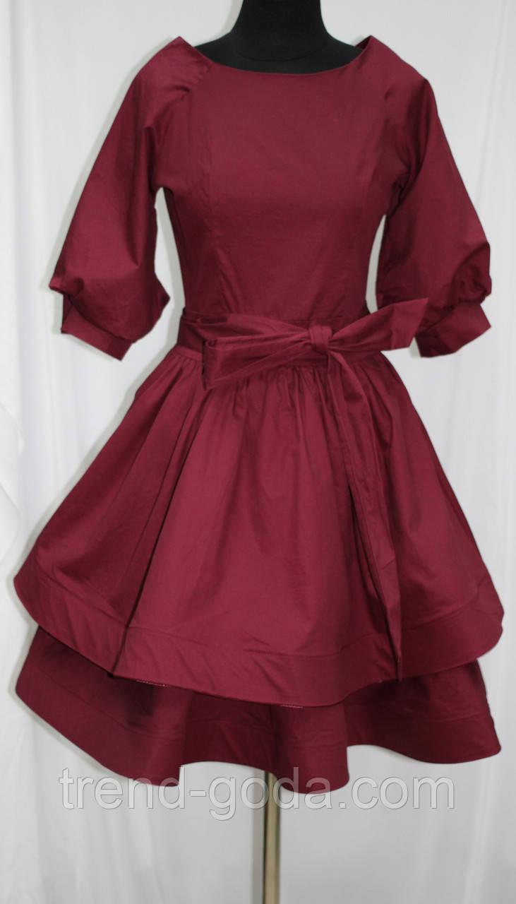 Платье стильное молодежное, бордовое, Турция
