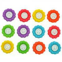 6943 Декоративные пуговицы. Разноцветные цветы
