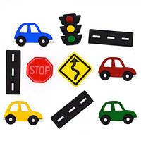 9355 Декоративные пуговицы. Дорожные знаки и автомобили