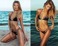Черный, летний, раздельный женский купальник с интересным дизайном, c сеткой, размер S, без чашки