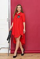 """Легкое платье-рубашка с асимметричной юбкой свободное с поясом из экокожи """"Скрин"""" красное"""