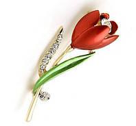 Брошь Красный тюльпан, фото 1