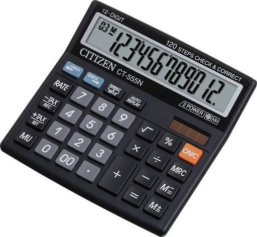 Калькулятор Citizen CT-555N бухгалтерский с коррекцией, 12р., фото 2