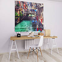 Римская штора Джуси велюр с фотопечатью Мост на водой 1500*1700 делаем любой размер