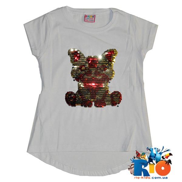 """Детская футболка  """"Собачка"""" пайетки перевертыши, трикотаж, для девочки 110-128 см(4 ед в уп)"""