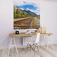 Римская штора Джуси велюр с фотопечатью Железная дорог 1500*1700 делаем любой размер