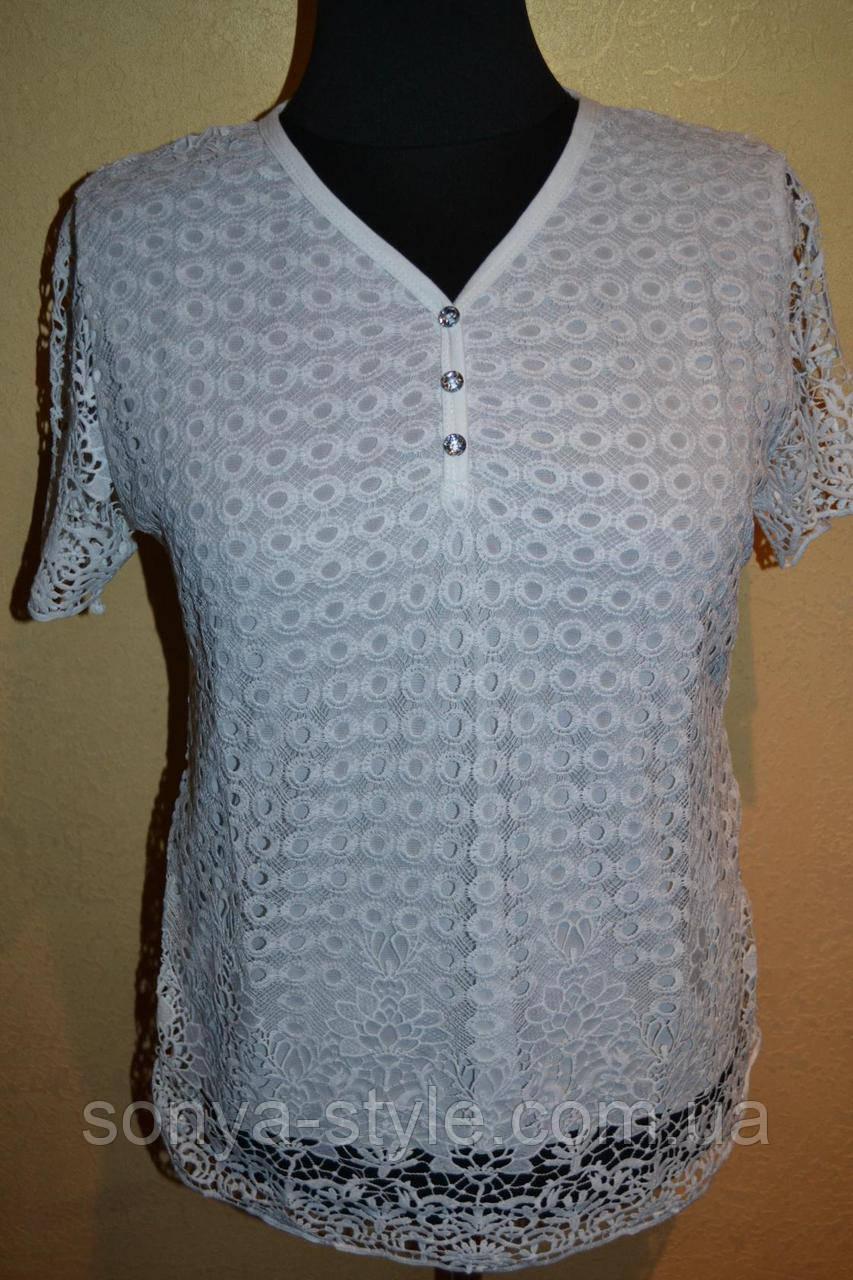 """Женская блузка """" кружева 855 """" больших размеров"""