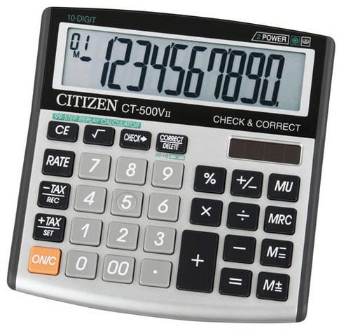 Калькулятор Citizen CT-500VII  бухгалтерский с коррекцией, 10р., фото 2
